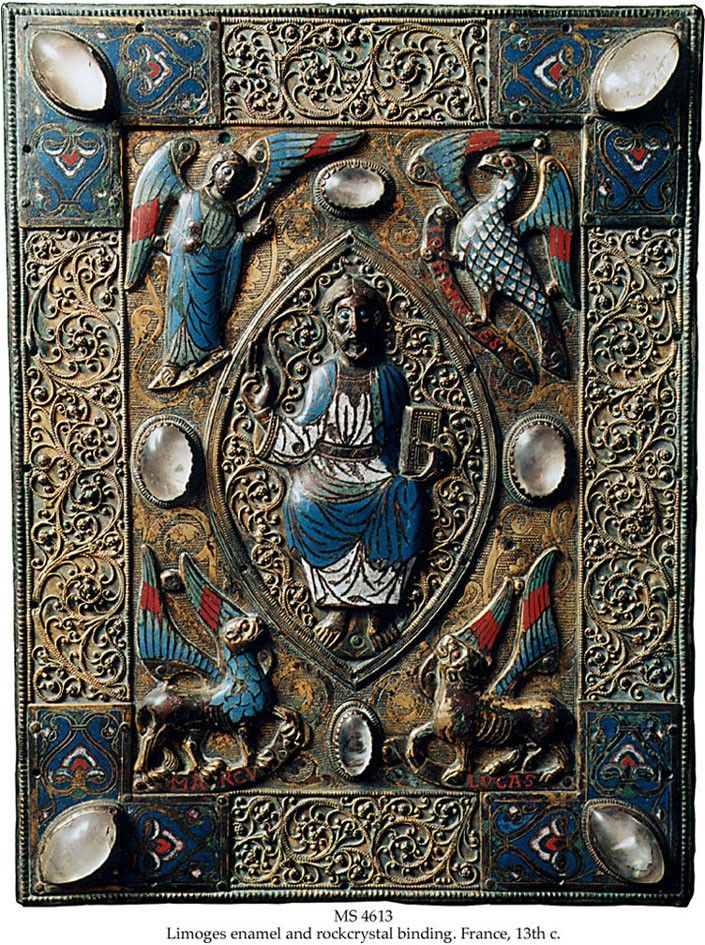 Limoges Gospel Book Cover.  Binding: Limoges, France, 13th c., upper cover of a Gospel book, originally on wooden boards.
