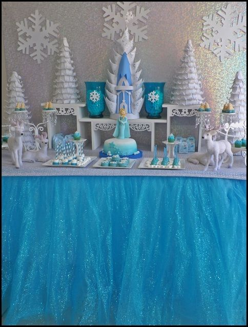 Disney Frozen Birthday Party dessert table! See more party ideas at CatchMyParty.com!