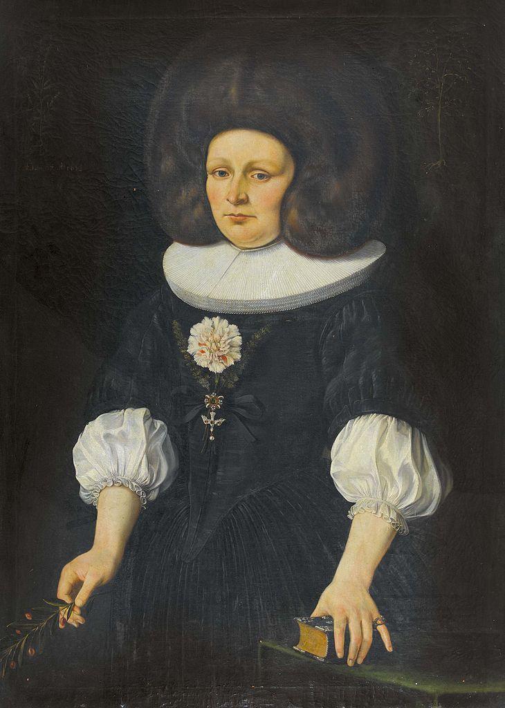 Lady wearing a large fur hat by Johannes Dünz, 1672