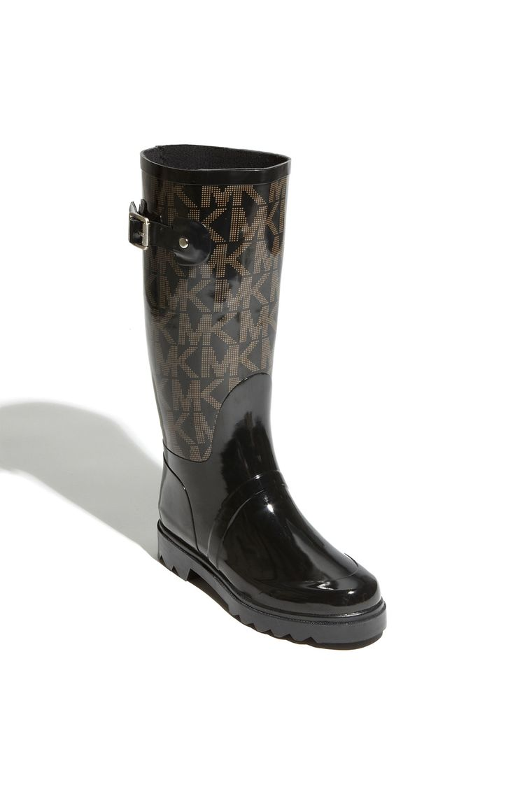 michael kors men rain boots | Michael Michael Kors Tall Logo Rain Boot in Black