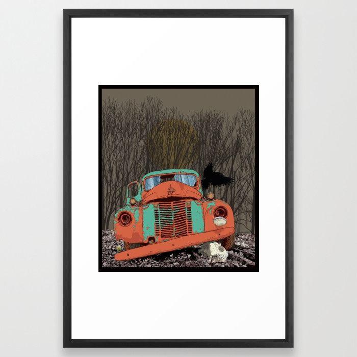 Rusted old truck, wolf skull, raven. Framed Art Print