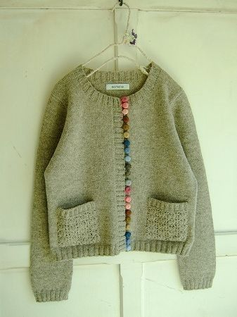 Sweater handmade in Peru...the buttons look like felted balls....here's the inspiration, now it's my turn!