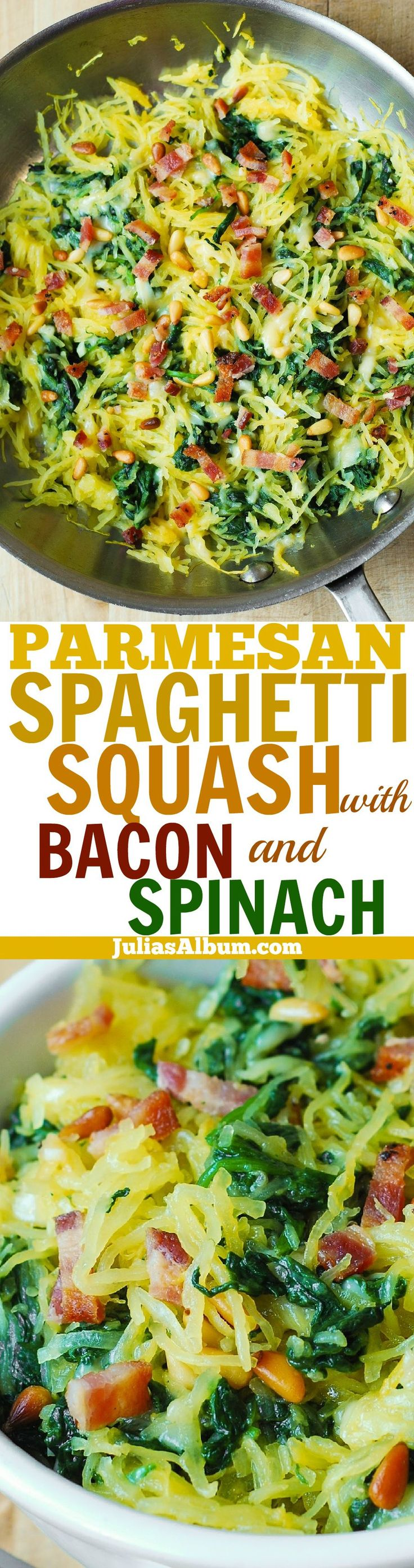Garlic Spaghetti Squash, Spinach, and Bacon, + melted Parmesan cheese and toasted pine nuts. Delicious, healthy, gluten free! (Cheese Making Nutritional Yeast)
