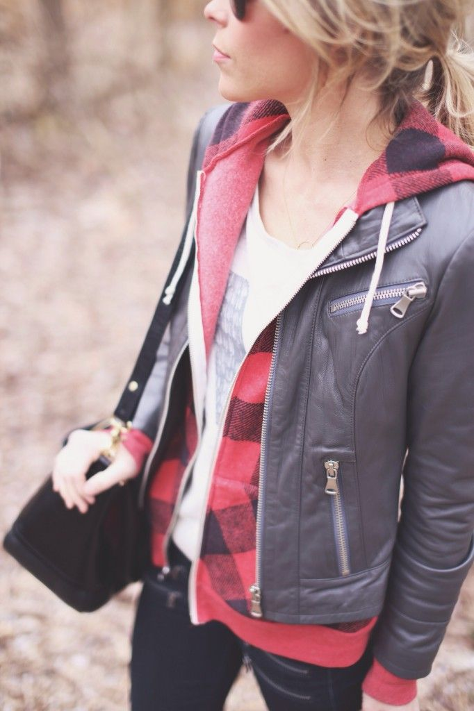 Layer a printed hoodie under a moto jacket for a cool-girl vibe.: