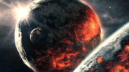 Burning planets wallpaper
