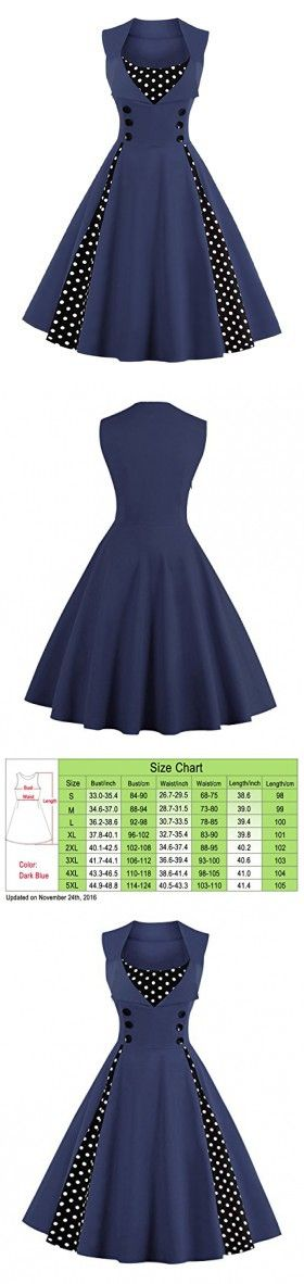 Killreal Women's Sexy A-Line Sleeveless Casual Cocktail Vintage Dress with Polka Dot Print Dark Blue Small