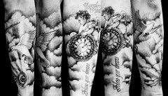 Cherub, pocket watch, doves, eye and clouds custom tattoo | Flickr - Photo Sharing!