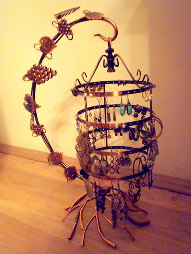 Customer Image Gallery for 4 Tiers Bird Cage Décor Rotating Spin Table Top 72 pair Earrings Holder Organizer / Bracelets Necklace Jewelry Stand Display Tower by MyGift