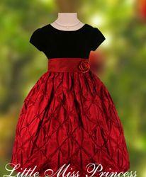 Black Velvet Red Harloquin Pattern Taffeta Christmas Holiday Party Dress