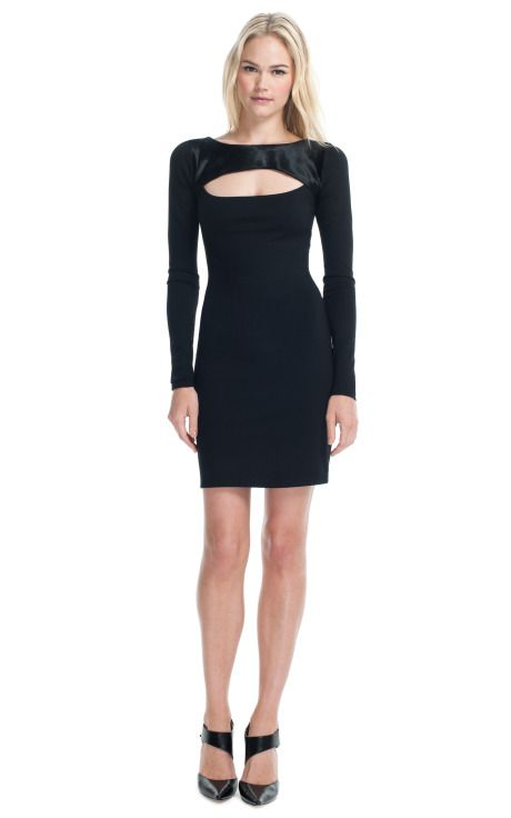 Elizabeth & James Holiday '12 Ileana Dress -- This long sleeved little black dress features haircalf at the yoke, cutwork at the bust and a form fitting silhouette  Exposed zip back closure  100% leather with hair  Unlined  Imported