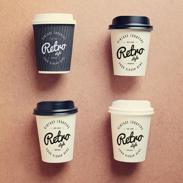 Coffee cups collection mock up Free Psd