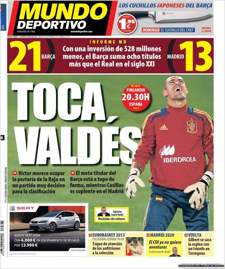 Los Titulares y Portadas de Noticias Destacadas Españolas del 6 de Septiembre de 2013 del Diario Mundo Deportivo ¿Que le pareció esta Portada de este Diario Español?