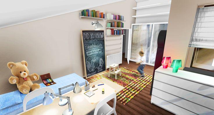 #Rendering #Interiordesign della camera dei bambini