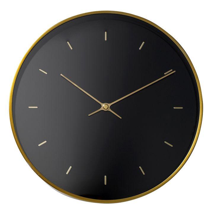 Zwart met goud - Mooie zwart met gouden klok voor van Bloomingville. Exclusief batterijen.
