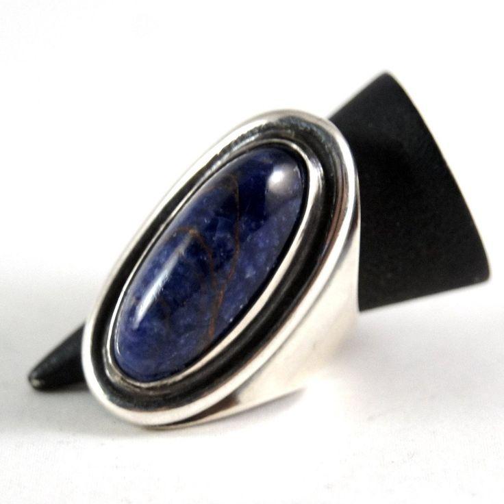 David Andersen Lapis Ring - Large Modernist - Sterling