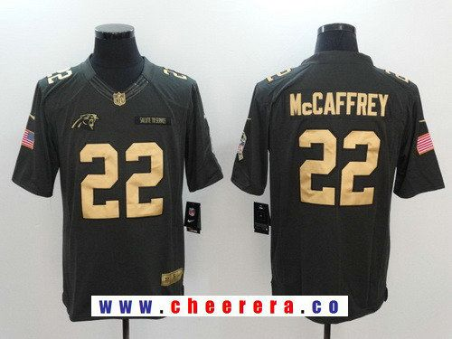 ... Limited Rush Fashion Jersey Top Mens Carolina Panthers 22 Christian  McCaffrey Anthracite Gold 2016 Salute To Service Stitched NFL Nike Womens  ... bccea5666