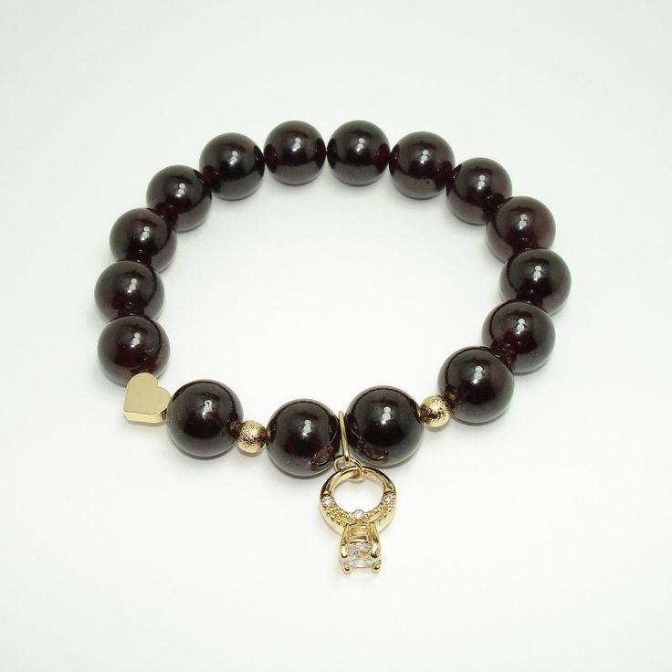 Garnet Bracelet, Zirconia, Yoga Bracelet, Spiritual Bracelet, Buddhist Jewelry, Gemstone Bracelet, Reiki Energy, Girlfriend Bracelet, Wife de Mainashiki en Etsy