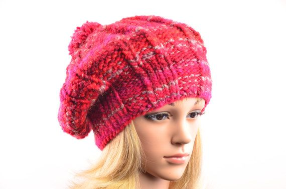lässige Bommelmütze in rot und silber / slouchy bobble hat in red and silver