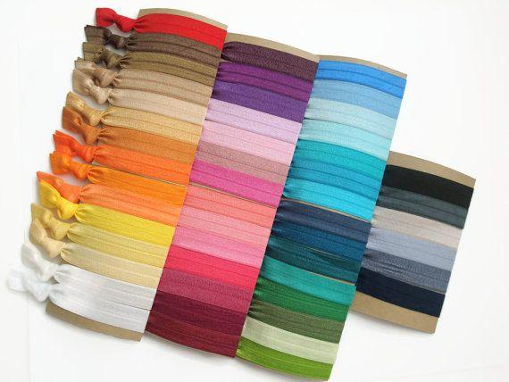 Pick 20 Elastic Hair Ties: Fold Over Elastic Hair Ties. Foe hair tie. on Etsy, $11.35