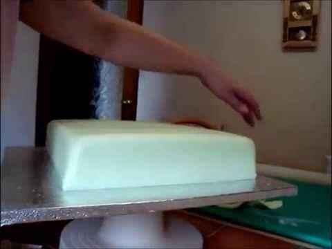 Как легко покрыть прямоугольный торт мастикой ровно и без складочек (украшение тортов мастикой) - YouTube