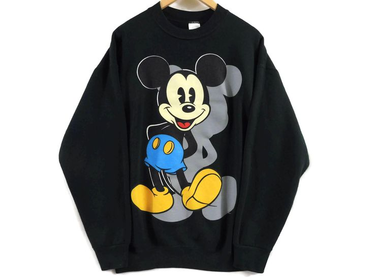 VTG 90s Mickey Mouse Crewneck Sweatshirt - XL - Dark Green - Disney - Cartoons - Soft - Minnie Mouse - Vintage Clothing - 90s Clothing - by BLACKMAGIKA on Etsy
