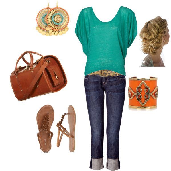 Turquoise and orangeOutfit