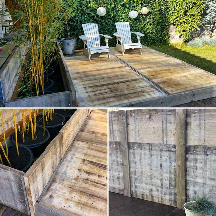 De tuin krijgt al meer vorm. Gewéldig die steenschotten. Als wandbekleding, als plantenbak en met de hardhout variant als vlonder. puurbinnen, tuininspiratie, steenschot, stoere uitstraling, ledverlichting