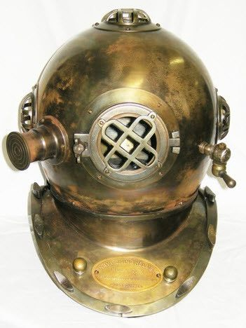 Diving Helmet - In Shiny Copper or Brass - Complete Pad ®