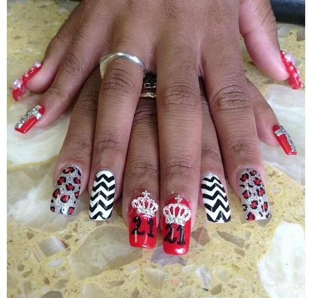 21st birthday nails ideas