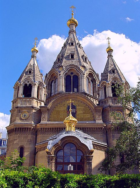 The Alexander Nevsky Cathedral (French: cathédrale Saint-Alexandre-Nevsky) is a Russian Orthodox church in the 8th arrondissement of Paris. Established and consecrated in 1861, it is the first Russian Orthodox place of worship in France.