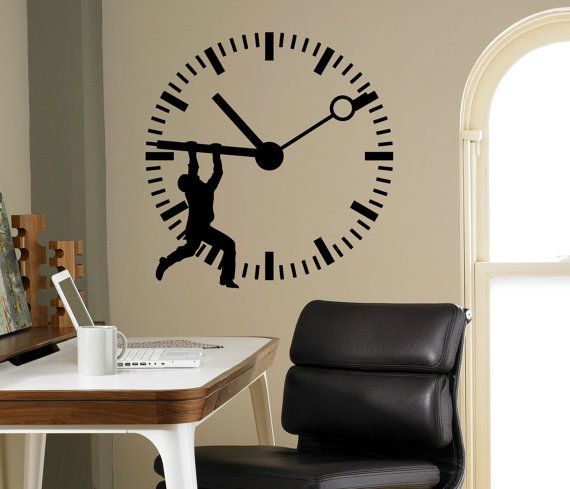 Stop The Time Wall Vinyl Decal Clock Wall Sticker Home Etsy Office Wall Design Vinyl Wall Decals Wall Stickers Home