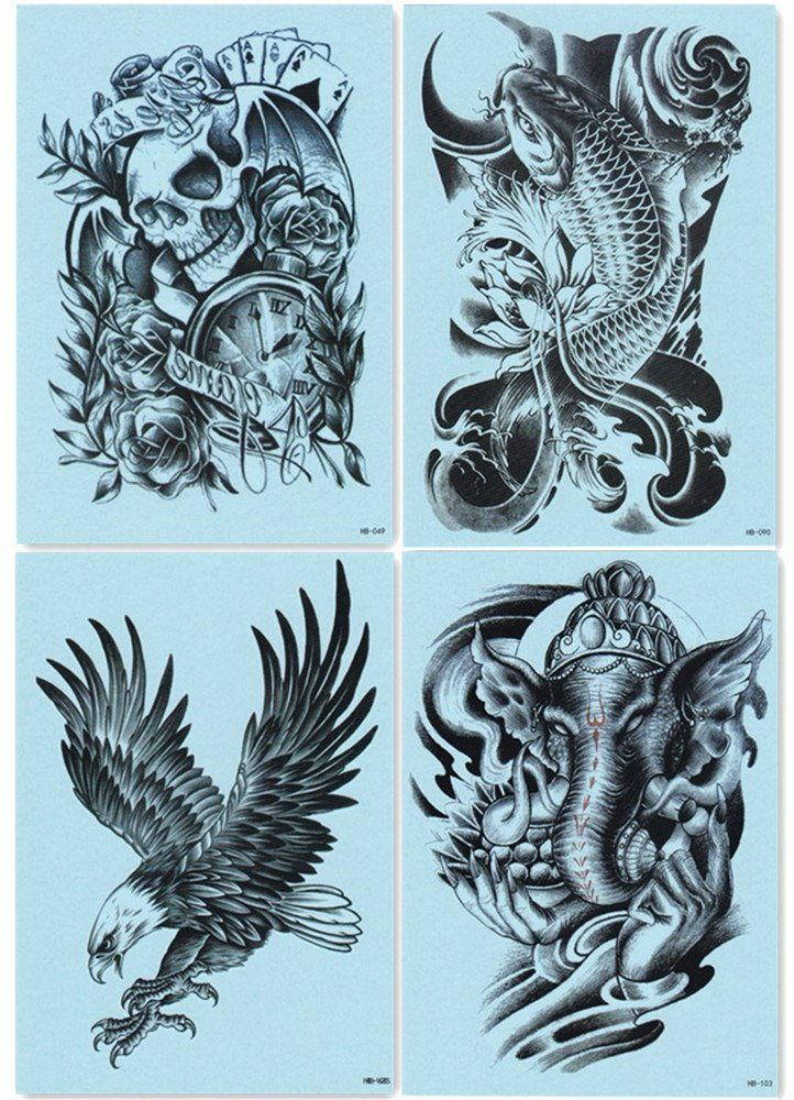 bb86cd6ff0227 Dalin 4 Sheets Temporary Tattoos Warrior Elephant Dead Skull Koi Fish Eagle  Hawks -- Be sure to check out this awesome product. (Note:Amazon affiliate  link)