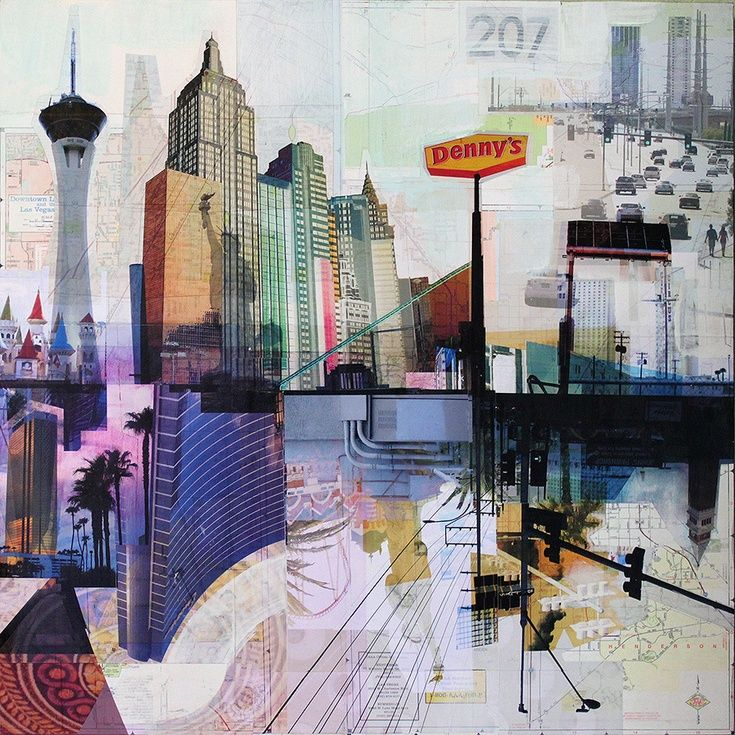 "ARTFINDER: Vegas Baby by Jon Measures - Mixed media collage of digital prints and acrylic paint on wood panel. Part of the Road Trip series called ""PLACE"""