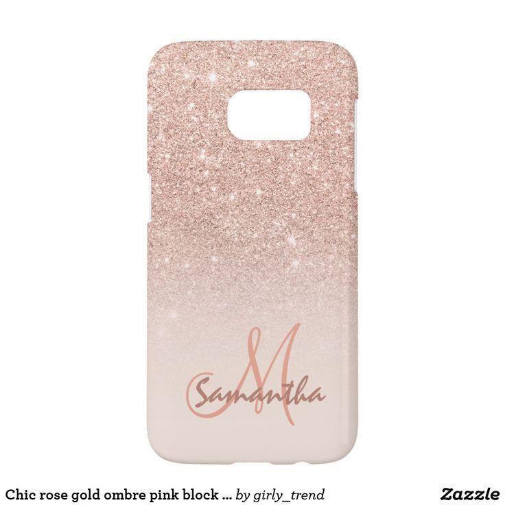 Chic rose gold ombre pink block personalized samsung galaxy s7 case (scheduled via http://www.tailwindapp.com?utm_source=pinterest&utm_medium=twpin)