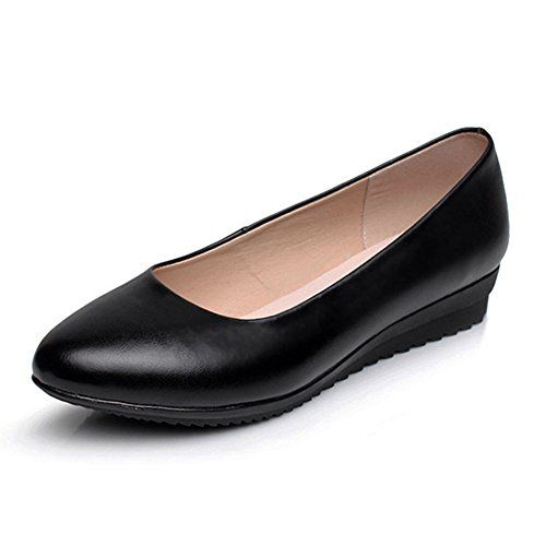 Low Wedge Flat Work Comfort Womens Ladies Touch Strap Wide Shoes REAL LEATHER