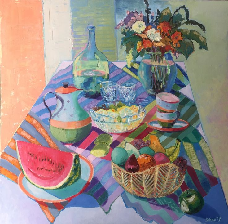 Still life with fruits and flowers- 100x100cm, oil on canvas