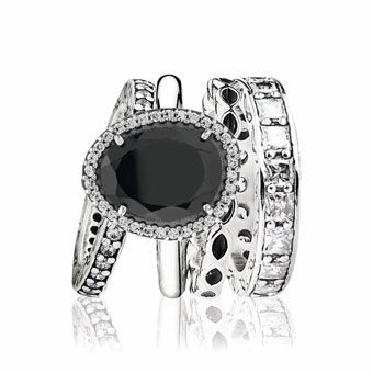 Pandora sterling silver ring with cubic zirconia $165, sterling silver ring with black spinel and cubic zirconia $205, sterling silver ring with black enamel $65, and sterling silver Eternity ring with cubic zirconia $179