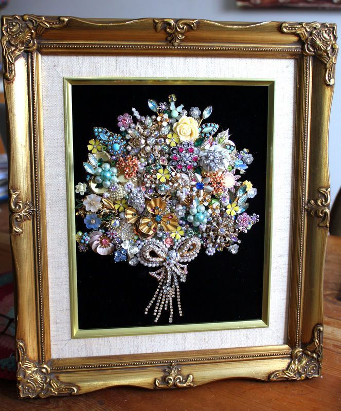 Antique Vintage Costume Jewelry Christmas Tree Framed Art