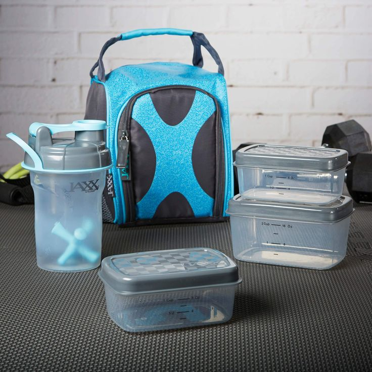 Jaxx FitPak Sport Meal Prep Bag with Portion Control Container Set and 20 oz. Shaker Cup