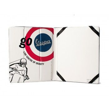Practical cover for iPad in Pu leather decorated with design of Vespa comunication. Color of design is white and cover is lightblue.