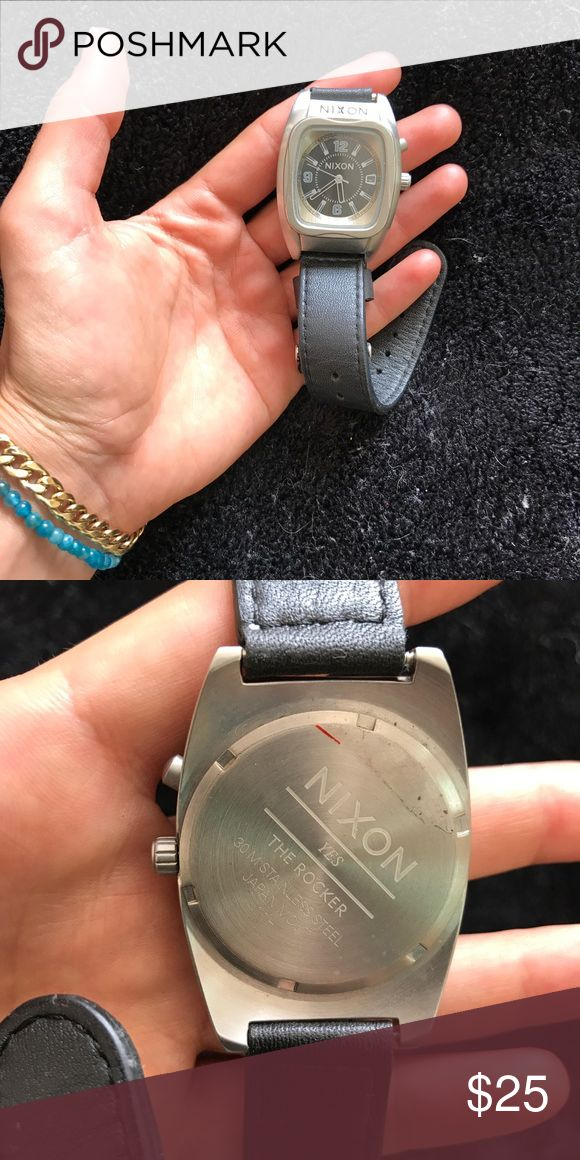 Nixon Women's Watch: The Rocker Nixon watch with black leather straps. Good condition, needs new batteries. Nixon Accessories Watches