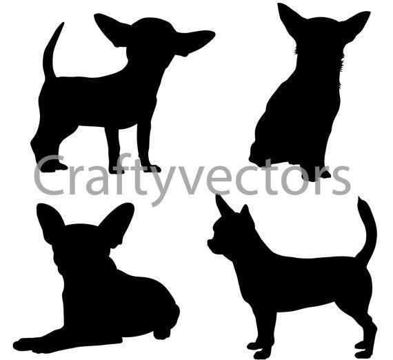 Chihuahua Dog Silhouettes Vector SVG by CraftyVectors on Etsy