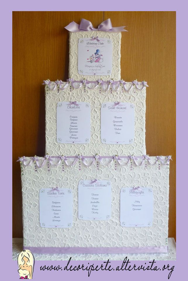 """WEDDING CAKE"" WEDDING THEME - Seating Plan + Place Cards - TABLEAU MARIAGE TEMA ""TORTA"" E SEGNAVOLO -"