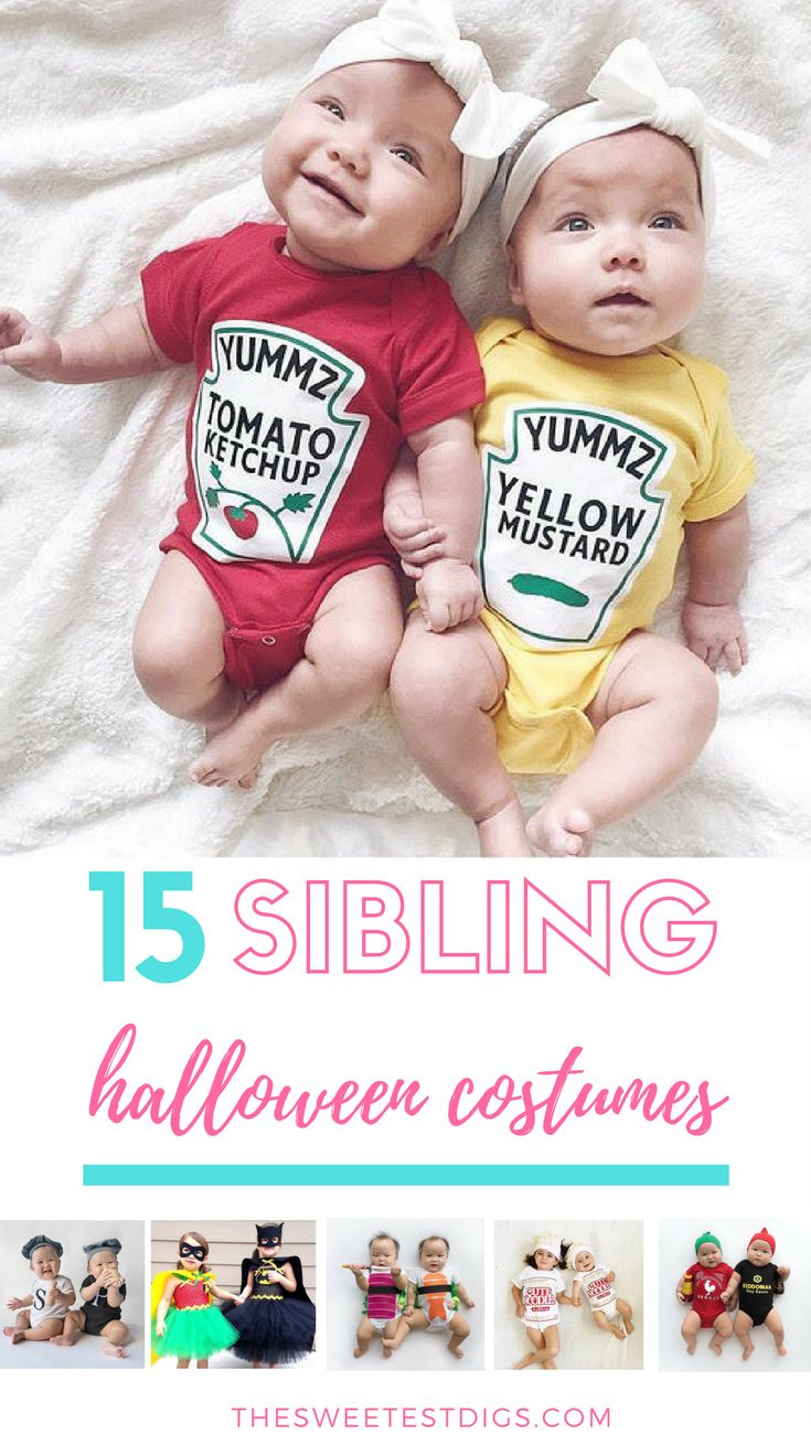 Sibling halloween costume ideas. Dress up brothers and sisters in these cute matching outftis!