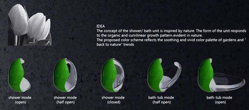 The Tulip Bath/Shower  In a small bathroom there's always a problem with space and the Tulip Bath/Shower designed by Piotr Pyrtek provides the solution. Saving space is not its only feature, having a number of characteristics that qualifies it as a luxury item, like underwater jets or massage programs.