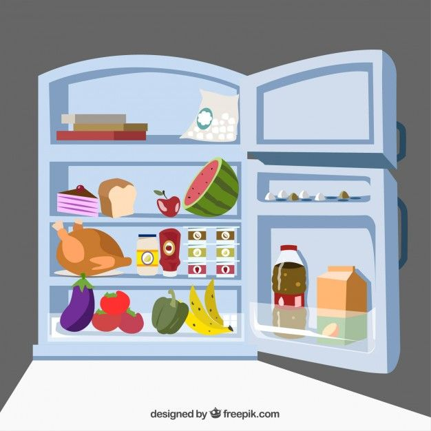 Fridge with food Vector | Free Download