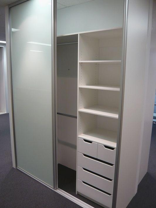 Floor to ceiling, 2 door Optipanel sliding door wardrobe, draw /shelf unit with split drawers