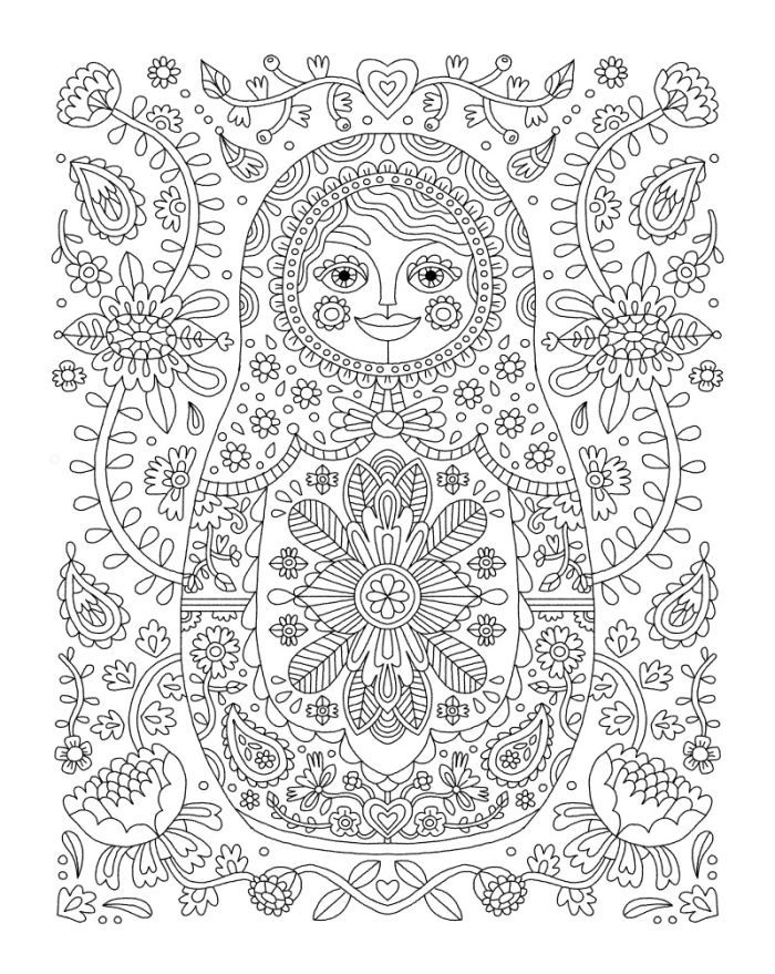 Russian doll coloring page