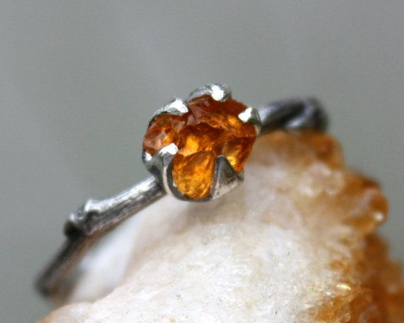 Citrine gemstone ring branch ring-sterling by aifosjewels on Etsy