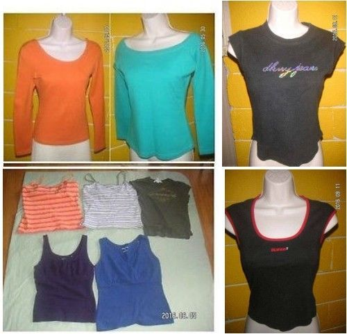 Bid on this great deal for 9 Variety COTTON knit tight TOPS for SMALL size (or Snug-Busty) WOMEN * 7 TANK Top GUESS DKNY * 2 Long Sleeve - MsFrugaLady on eBay